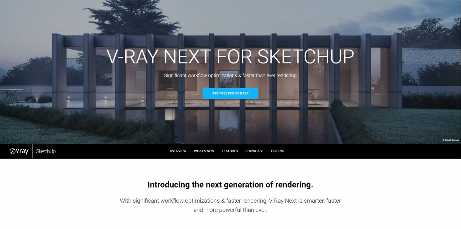 Screenshot of Chaosgroup website saying V-Ray NEXT for SketchUp Try free for 30 days.
