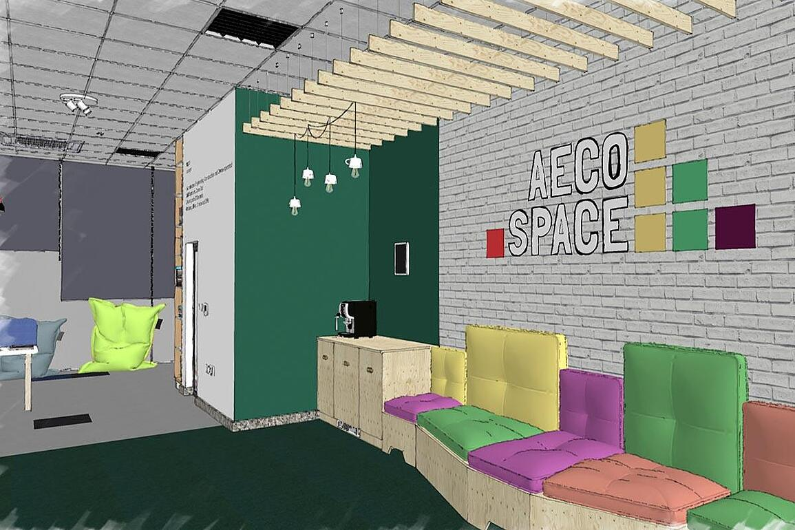 SketchUp rendering of a workplace interior showing corner with coffee machine and colorful sofa.