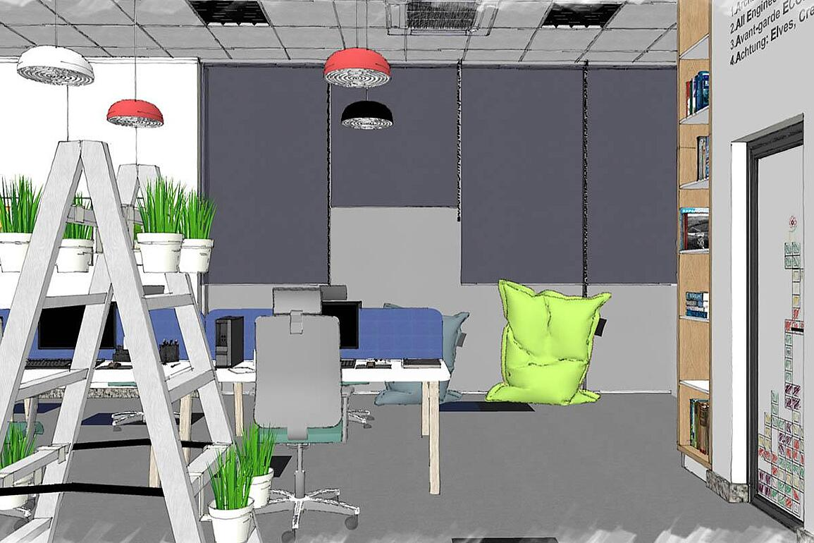 SketchUp rendered scene showing large window with blinds, workplace nd green plants.