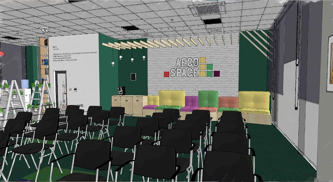 SketchUp rendered scene of AECO Space interior project.