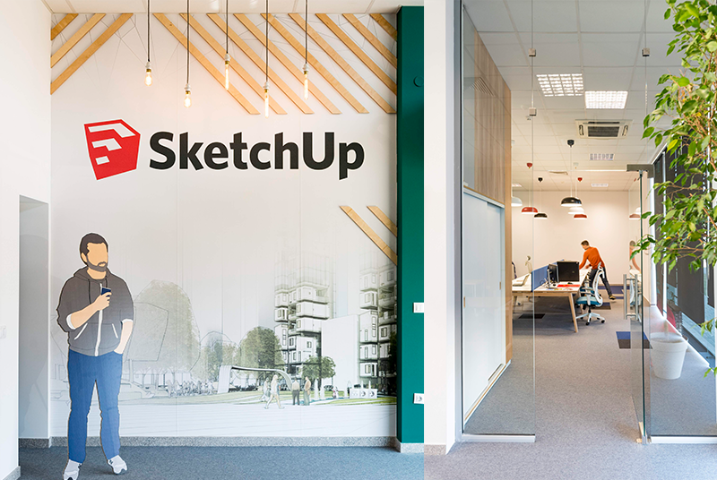 SketchUp logo on the wall of AECO Space office in Sofia.