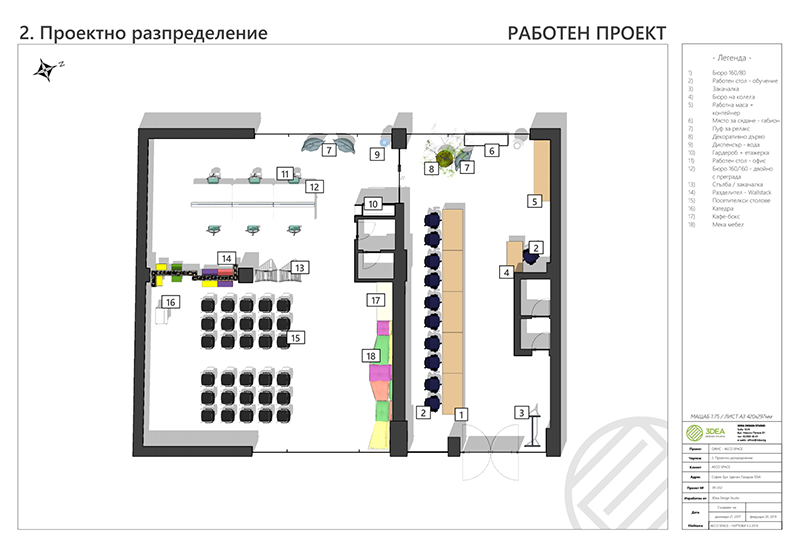 Annotated floor plan of the AECO Space project created using a SketchUp model and generated and annotated in LayOut.