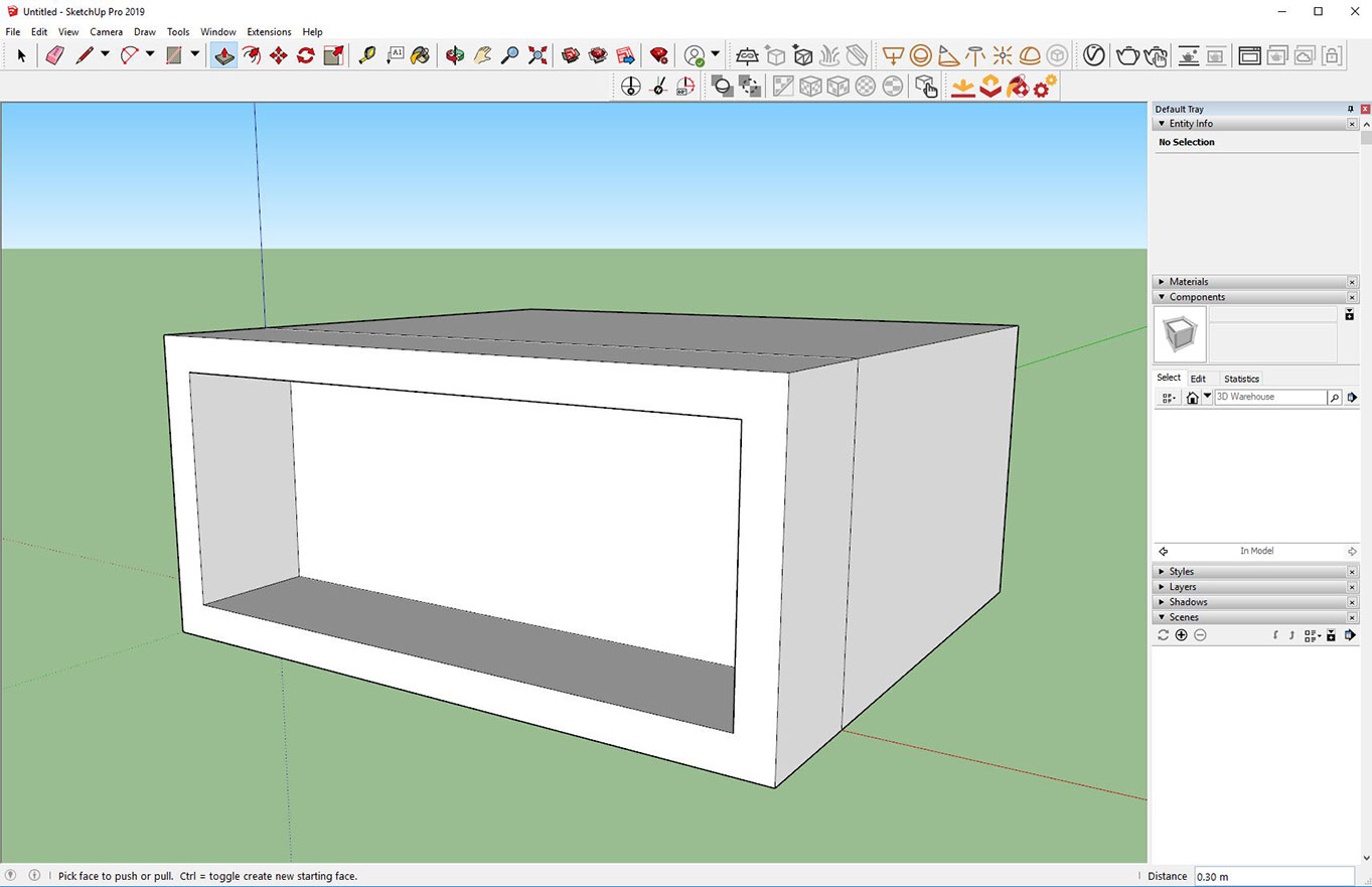 Extruding in SketchUp