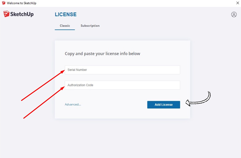 Check your mailbox and use Serial Number and Authorization Code to add your license.