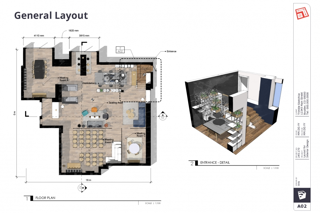 General Layout in SketchUp showing apartment 2D floor plan on left side and 3D Entrance Detail view on right side.