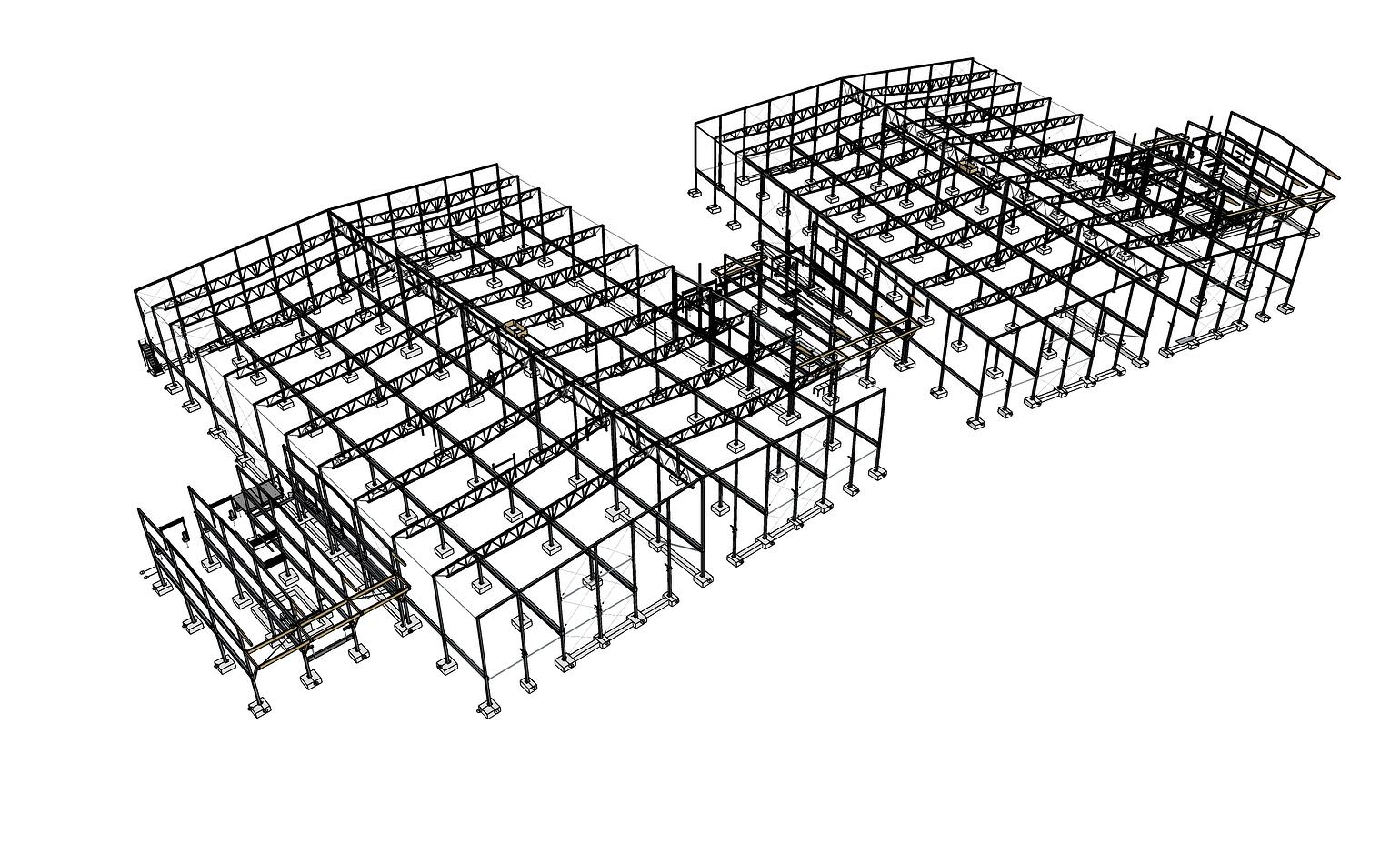 This scene focuses on a warehouse's steel frame; finding a clash here eliminates issues on-site