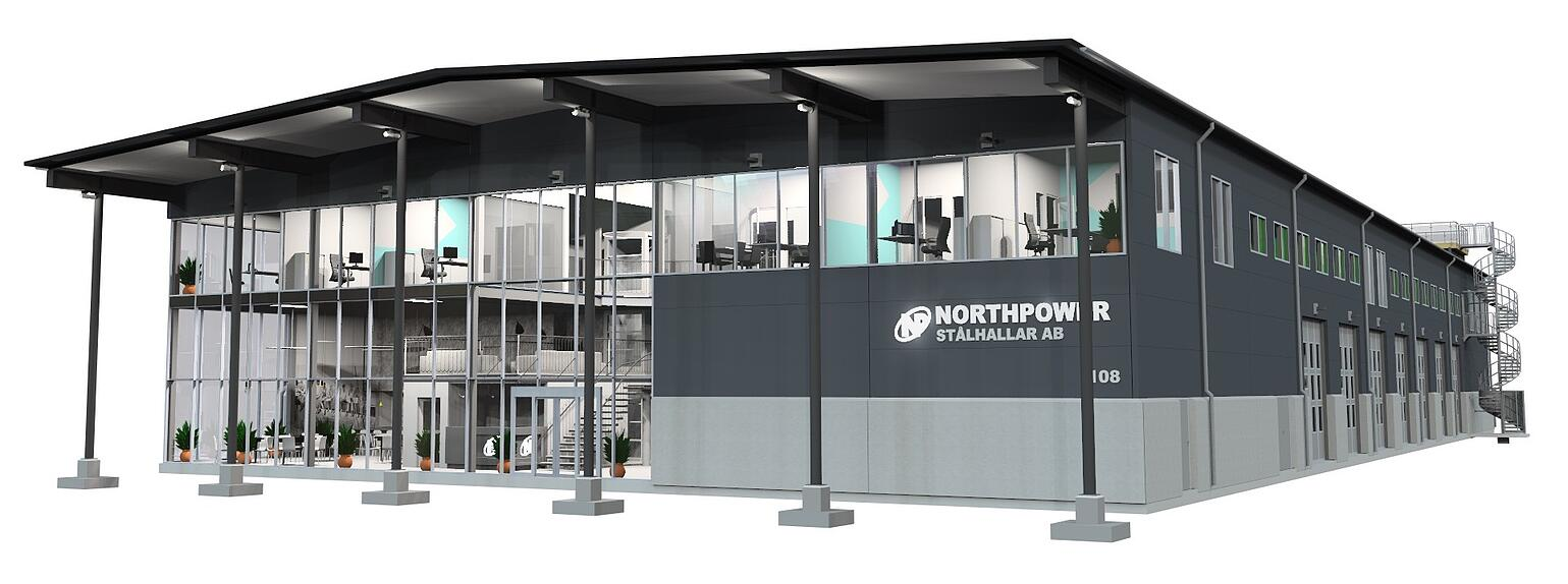 Northpower Stålhallar's office building. This includes a manufacturing unit, where many SketchUp designs come to life.