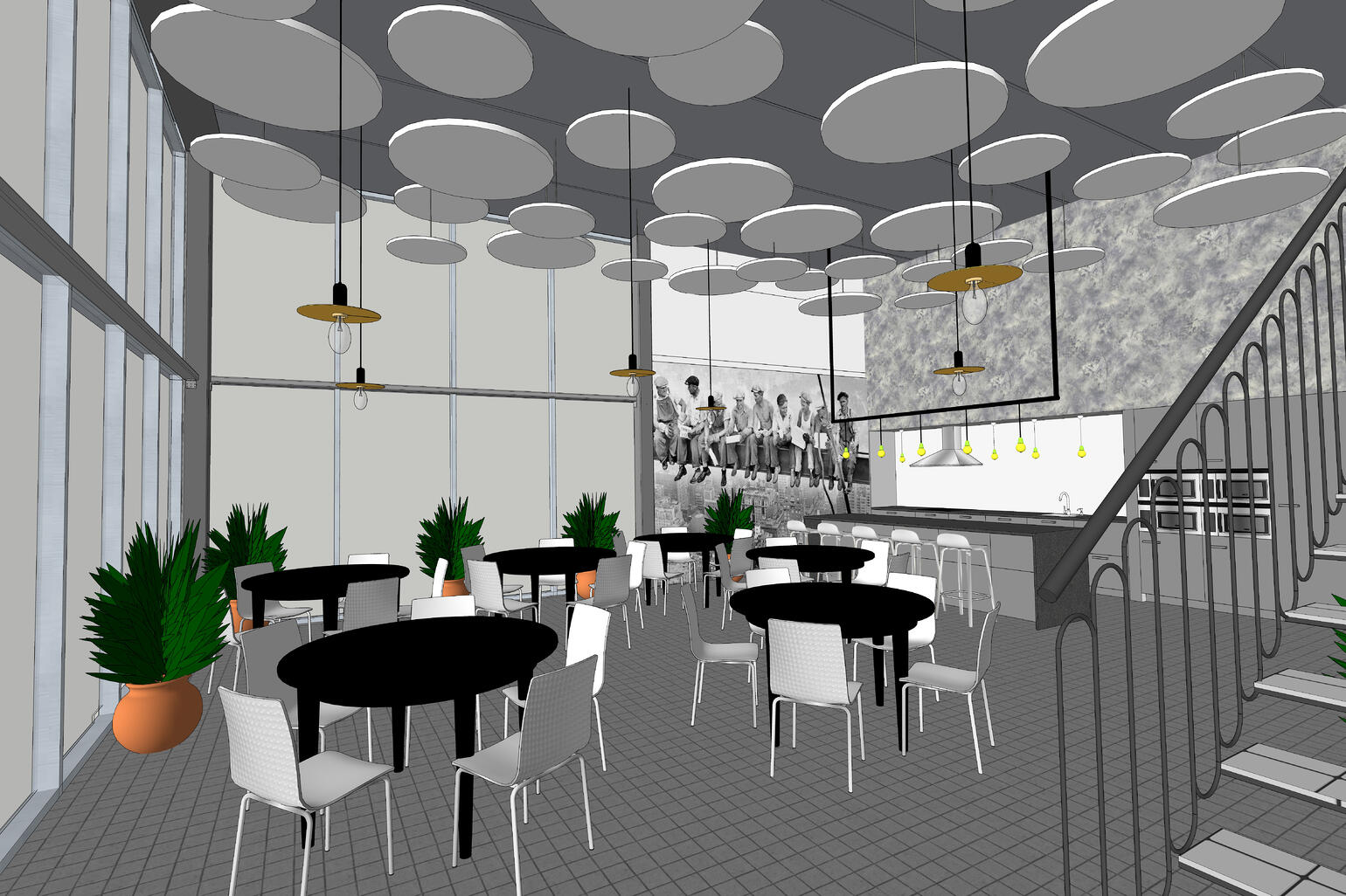 A lunchroom scene from the model of Northpower Stålhallar's office model in SketchUp