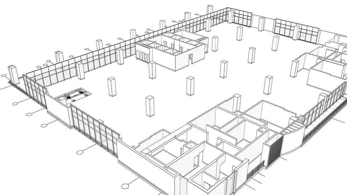 Еngineering drawing of a building made in SketchUp.
