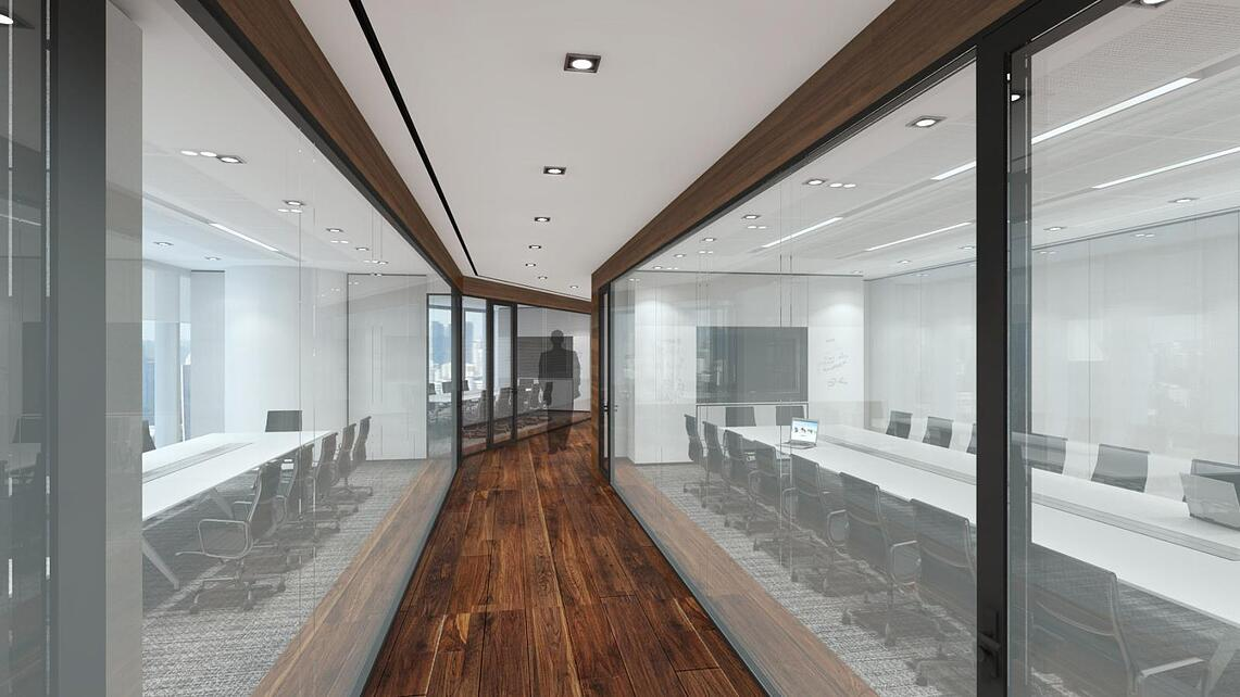Rendered image of a workplace with two separated meeting rooms with glasswalls.