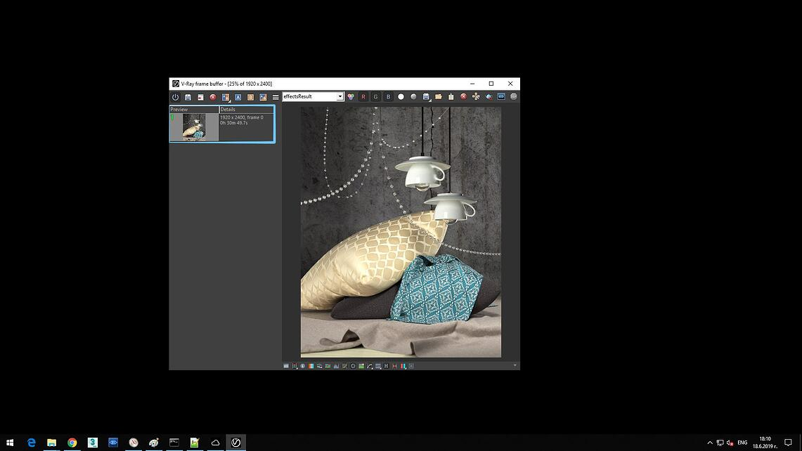Screenshot of V-Ray Next processed image of upside down coffee cups and two pillows on gray blanket showing in Details of Preview rendering time 0h 30m 49.7s.