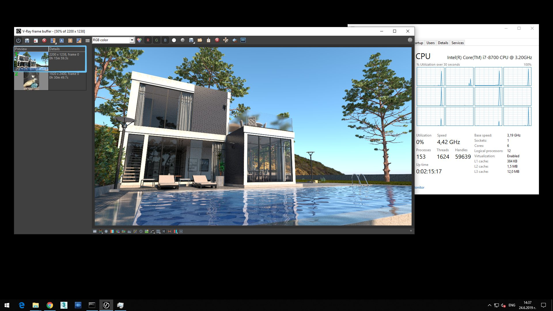 Screenshot of V-Ray Next processed exterior image of cubic house with glass walls and pool showing in Details of Preview rendering time 0h 15m 59.3s.