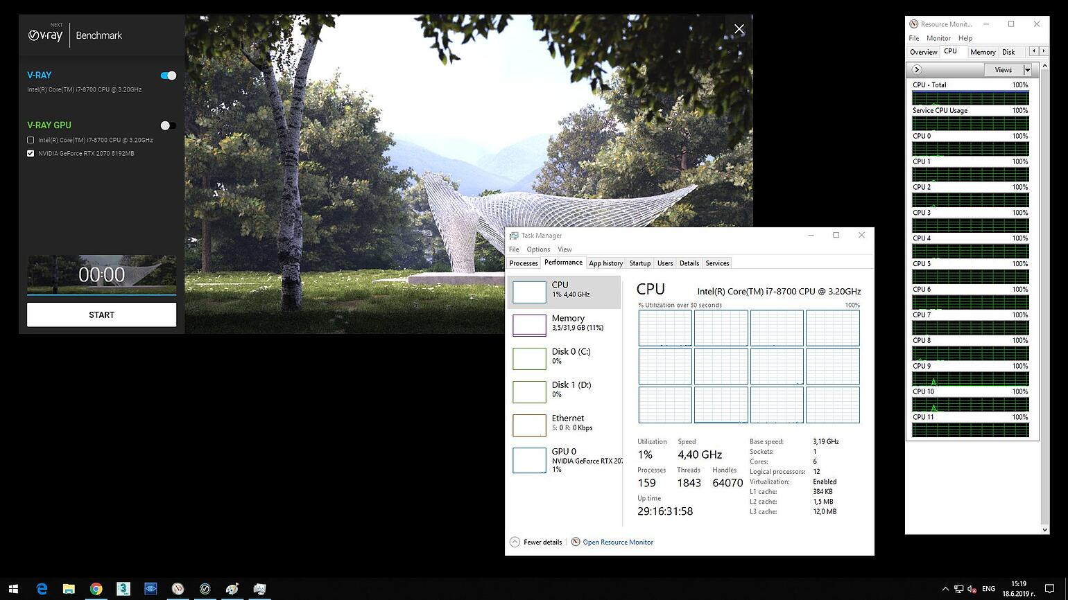 Screenshot of V-Ray Next Benchmark and opened Task Manager showing 12 CPU and hyperthreading on, ready to start.