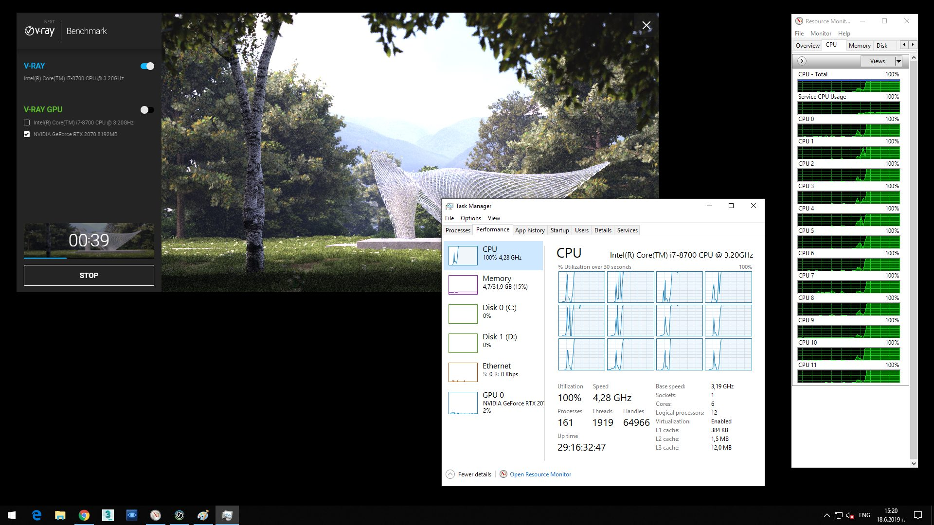 Screenshot of V-Ray Next Benchmark and opened Task Manager showing 12 CPU and hyperthreading on, processing the image.