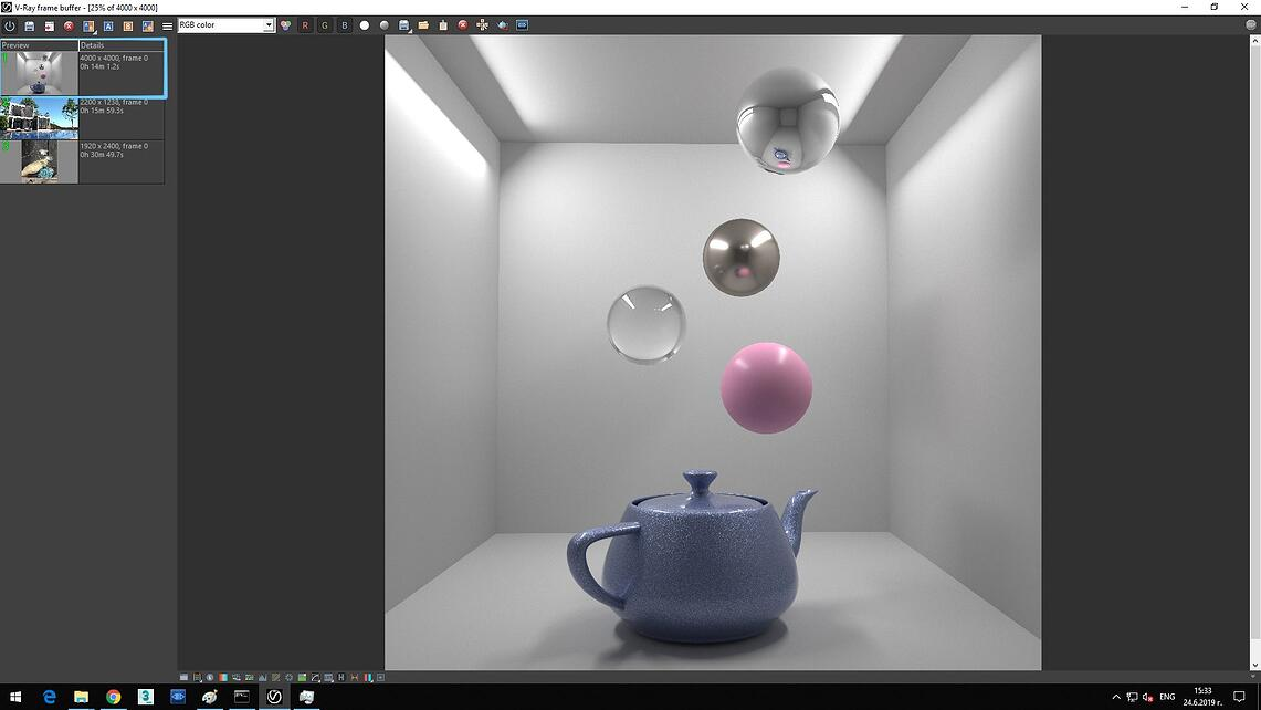 Screenshot of V-ray frame buffer showing in Details of Preview that the image of rendering time with hyper-threading on is 0h 14m 1.2s.