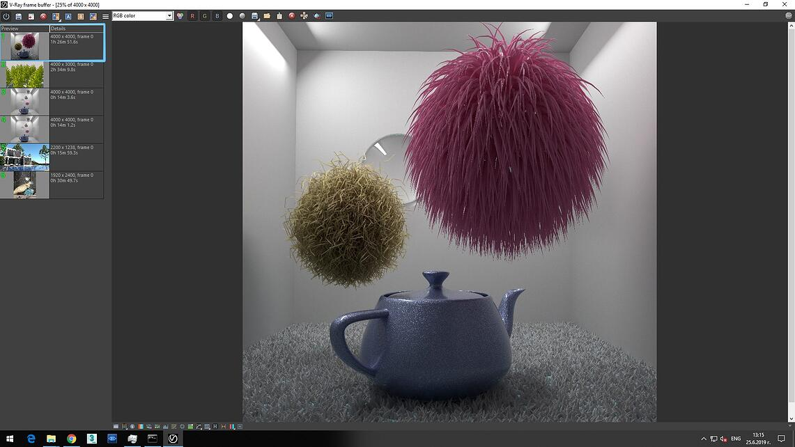 Screenshot of V-Ray Next processed image of blue pot on white carpet and flying two feather ball showing in Details of Preview rendering time 1h 26m 51.6s.