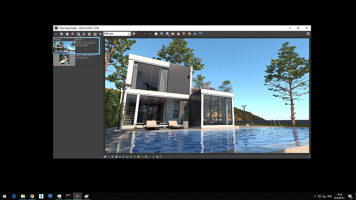 Screenshot of V-Ray Next processed exterior image of cubic house with glass walls and pool showing in Details of Preview rendering time 0h 19m 38.0s.