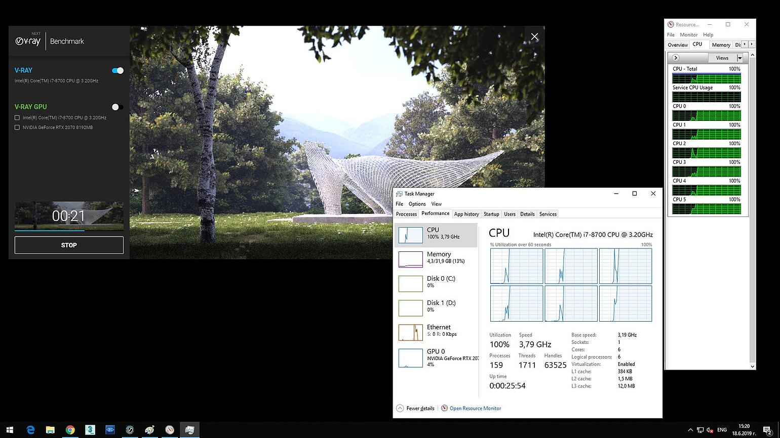 Screenshot of V-Ray Next Benchmark and opened Task Manager showing 6 CPU and disabled hyperthreading, processing the image.