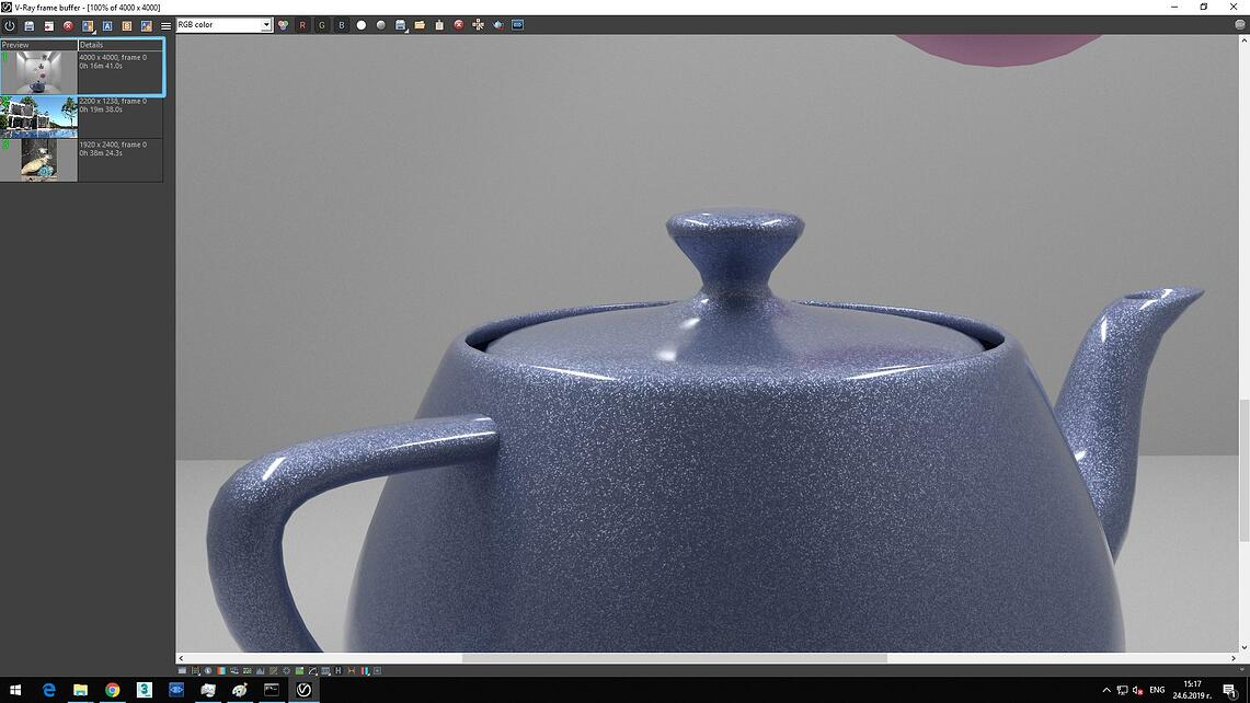 Screenshot of V-ray frame buffer showing zoomed rendered image and Details of Preview, rendering time with no hyper-threading: 0h 16m 41.0s.