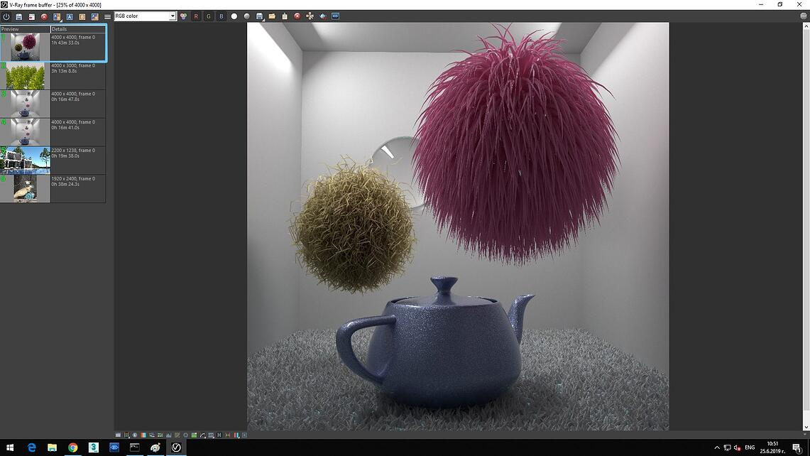 Screenshot of V-Ray Next processed image of blue pot on white carpet and flying two feather ball showing in Details of Preview rendering time 1h 43m 33.0s.