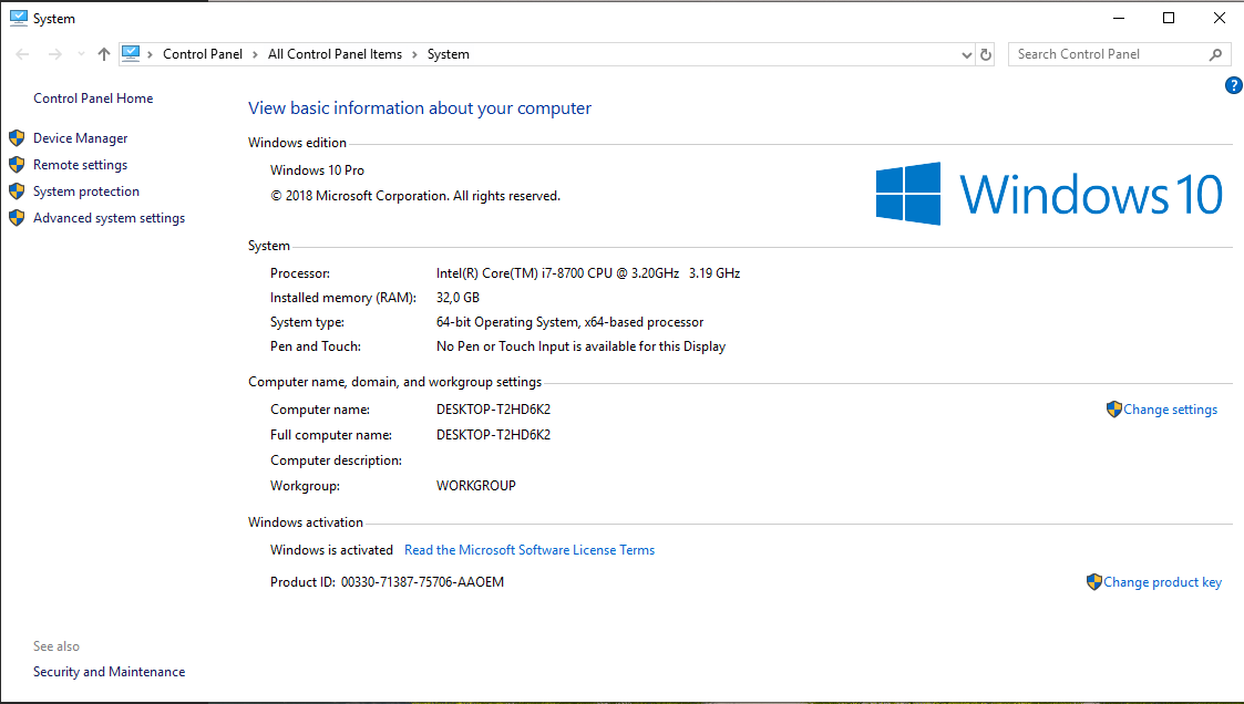 Screenshot of Windows 10 showing Control Panel, System, Processor Intel® Core ™ i7-8700 SPU @ 3.20GHz 3.19 GHz