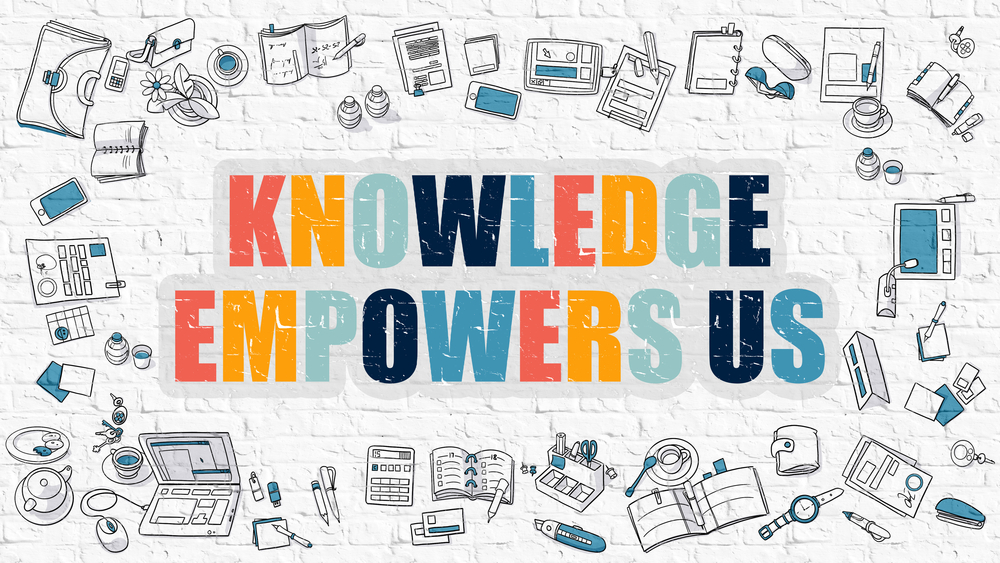 Knowledge Empowers Us Concept. Multicolor Inscription on White Brick Wall with Doodle Icons Around. Modern Style Illustration with Doodle Design Icons. Knowledge Empowers Us on Brickwall Background.